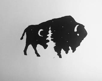 Original Bison Woodblock Print