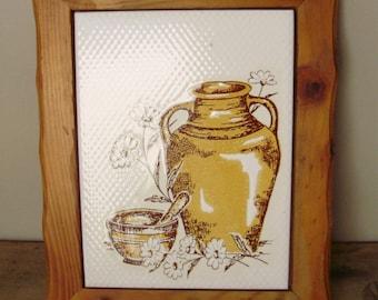Vintage wood and ceramic kitchen peg,rack,kitchen decor