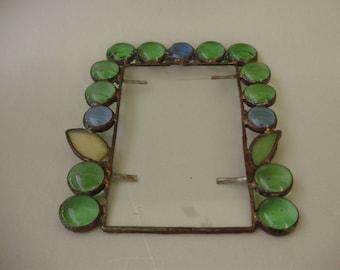 Tiffany style photo frame,wall frame,green glass,Vintage style,handmade
