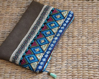 Bohemian blue faux leather and cotton pouch