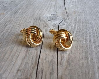 Vintage Napier Gold Eternity Knot Earrings-Vintage Napier Screw Back-Napier Gold Knot Earring-Vintage Eternity Knot Earrings-Free Shipping