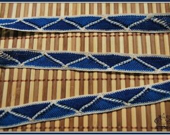 2 meters x 2.1 cm lace crochet Macrame blue Beige REF 1414