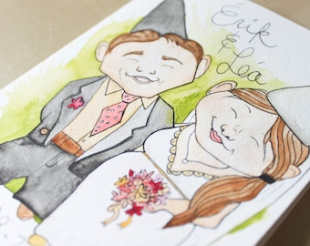 Personalized wedding card. Custom card. Gift for newlyweds. Garden gnomes. Original watercolor painting. 5 x 7 in.