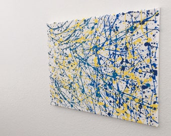 "Acrylic Drip Painting ""Blue Skies""; Jackson Pollock Inspired Abstract Art; Hand Painted Canvas Wall Decor; 12"" by 16"""
