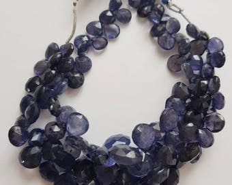 Iolite Faceted Heart Beads -- Iolite Briolette Beads -- 8 to 11 mm -- 7 inch