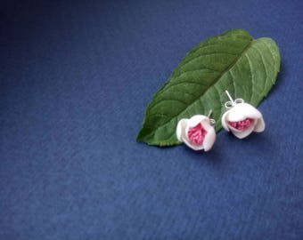 Handmade Porcelain Stud Earrings, White and Pink Color, Porcelain, 925 Silver Studs, Ideal Gift for Loved One