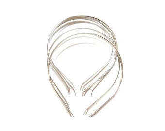 10 round matte silver headband with decorated