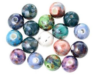 10 round ceramic beads mixed 10 mm
