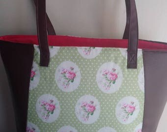 Tote handbag in pink flowers with vinyl shopping tote