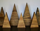 Rustic Wood Tree Set, Wood Mountain Set, Eco-Friendly Natural Wooden Tree Triangles, Wood Forest, Rustic Christmas, Simple Modern Holiday