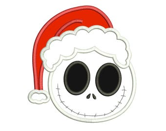 Smiling Face Jack Skellington Christmas Applique Design - Nightmare Before Christmas Applique 3 sizes Instant Download