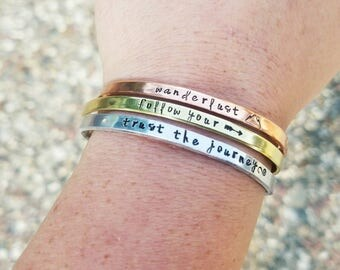 Wanderlust Skinny Cuff Bracelet - Trust The Journey - Follow Your Arrow - Inspirational Traveler Jewelry Gift