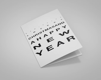"Card ""Optometric Test"" Merry Christmas and happy new year with envelope"
