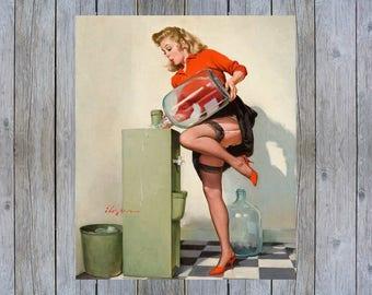A Refreshing Lift - 1969 Gil Elvgren vintage pin up art poster print