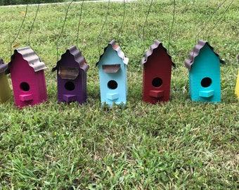 Birdhouse, birdhouses, wooden birdhouse, tin roof birdhouse, yard decor, garden decor, handmade birdhouse, rustic birdhouse