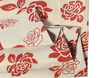 Cotton fabric and linen - large red flowers - 150 cm x 50 cm