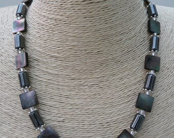 Haematite and Mother of Pearl Shell Necklace with Toggle clasp