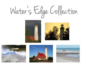 Blank photo note cards featuring the Tawas Point Lighthouse on Lake Huron; set of 5 cards