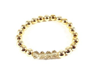 Goldie Golden~ Handmade Stretch Bracelet~ 14K Gold Plated Rounds & Golden Faceted Czech Glass Crystal Rondelles~ Adjustable