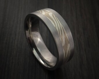 Titanium and palladium mokume ring custom made to any size 3 to 22