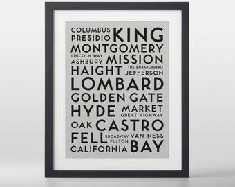 San Francisco USA City Streets Typography Art Print