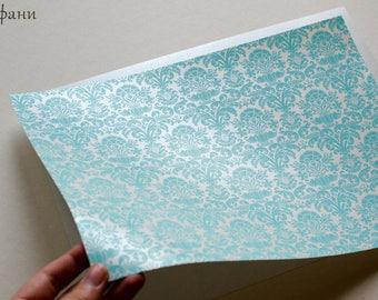 Damask Pattern Paper for Handmade Wedding Invitation Tiffany, Gold, Pink, Pearl, Lavander, Blue
