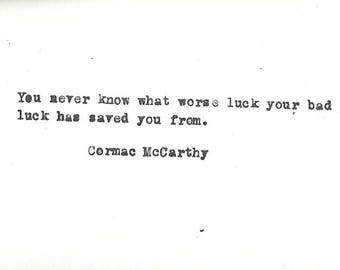 Cormac McCarthy hand typed vintage typewriter quote