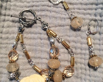 "Petite 6 1/2"" Pale Yellow Quartz Bracelet and Earrings Set"