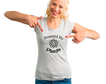 Powered By Plants T Shirt, Vegan Clothing, Vegetarian, Vegan T-shirt, Vegan AF Tee, Ladies T-shirt