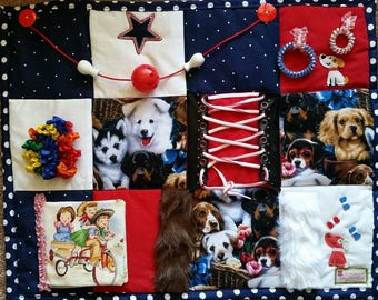 Dogs and cute kids on a Fidget Blanket...what could be better?