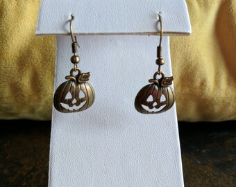 Halloween bronze pumpkin face dangle earrings