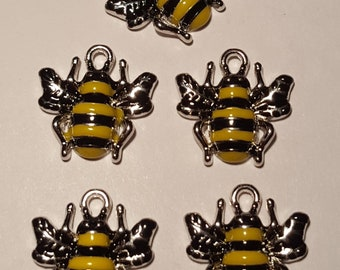 5 Enamel Bumble Bee Charms