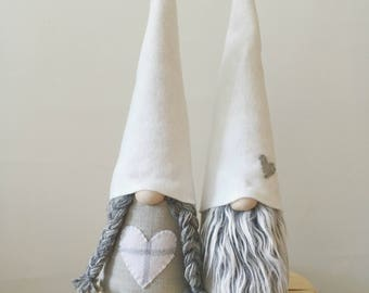 Scandinavian Gnome Couple , Tomte, Nisse, GREY COLLECTION , Large size , Scandinavian Home Decor , Handmade in USA