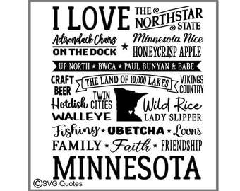 SVG Cutting File I Love Minnesota DXF EPS For Cricut Explore, Silhouette & More.Instant Download.Personal and Commercial Use. Vinyl Stickers
