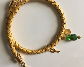 Yellow leather bracelet with green charm