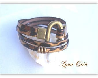 Bracelet leather Leopard Bronze Zamak clasp, clasp Horseshoe Bracelet leather and Zamak Metal