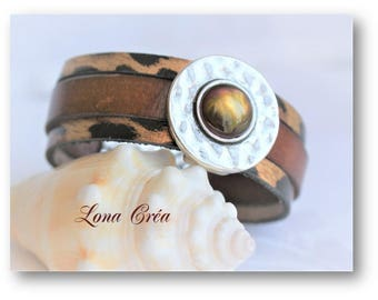 Cuff Bracelet brown leather and Leopard, passing hammered coin Cabochon and clasp in Zamak - Safari Bracelet - leather cuff bracelet