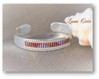 Bangle is adjustable silver brass - Miyuki Bronze Rose and Mauve - adjustable Bangle - Cuff Bracelet, Miyuki bracelet