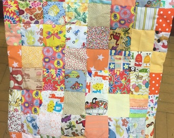 Beautiful orange and yellow baby quilt, play mat, cot quilt, pram blanket, baby shower, new baby gift