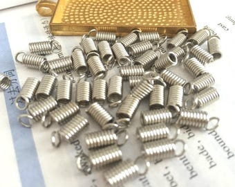 wholesale 100 Pieces /Lot silver plated 4.5mm coil cord end crimp fasteners,spring coil cord end connectors