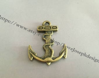 20 Pieces /Lot Antique Bronze Plated 32mmx28mm anchor Charms (#045)