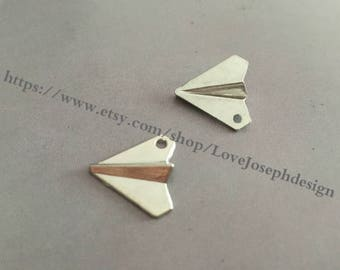 wholesale 100 Pieces /Lot Antique Silver & Bronze Plated 17mmx19mm Paper airplane Charms (#0336)