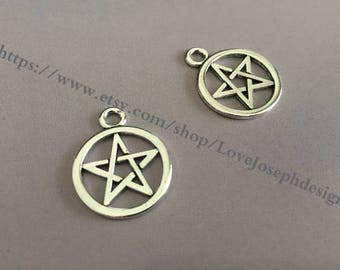 wholesale 100 Pieces /Lot Antique silver Plated 20mmx24mm pentagram charms(#0523)