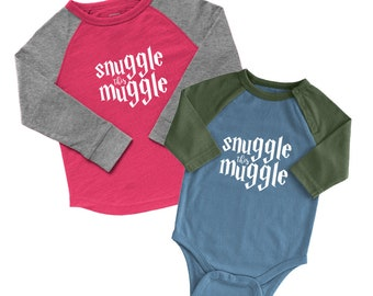 Snuggle this Muggle Raglan Tee or Bodysuit | MANY COLORS | harry potter baby, harry potter shirt, harry potter onesie, harry potter gift
