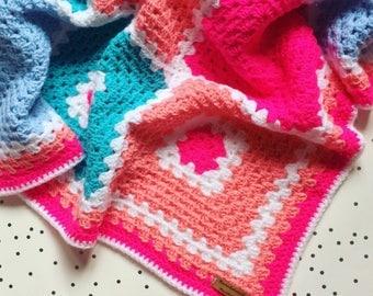 Blanket crochet blanket Pink granny squares