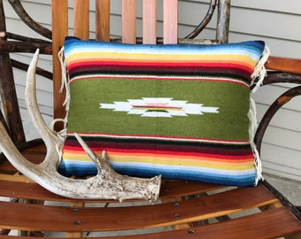 Pillow cover made from vintage runner with fringe, Southwest style, multiple colors with olive green as primary