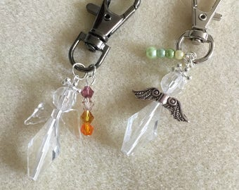 Clear Crystal Angel, Angel key Ring, guardian angel bag charm, thank you gift, teacher gift, party favor, bridesmaid gift
