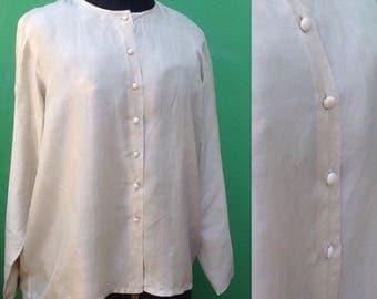 Silk collarless shirt. 80s silk shirt. Vintage overside blouse.