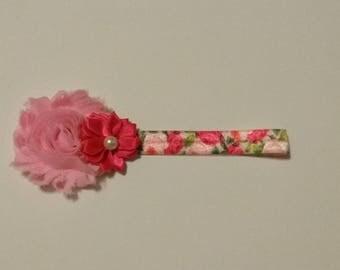 Baby Valentine headband, pink shabby flower headband, Newborn infant headband, Toddler headband, roses and flowers headband, Easter headband