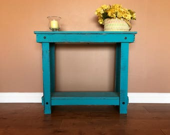 Rustic Handcrafted Reclaimed Console Table - Self Assembly - Absolute Teal